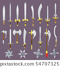 Sword vector medieval weapon of knight with sharp blade and pirates knife illustration broadsword 54707325