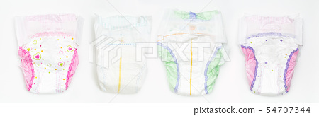 Set of Disposable Baby Diapers Over White Background 54707344