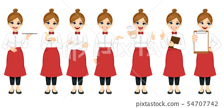 Young barista waitress standing in different poses 54707742