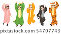 Five people wearing funny animal onesie pajamas 54707743