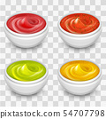 Different gourmet sauces, mustard, ketchup, soy, marinade isolated on transparent background 54707798