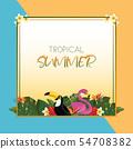 Tropical summer square frame design 54708382
