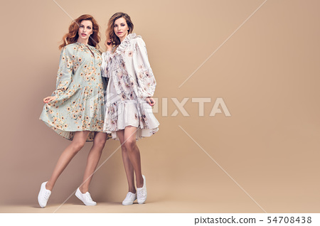 Two Adorable fashion girl in Stylish summer dress 54708438