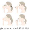 Illustration of a woman doing makeup 54711518