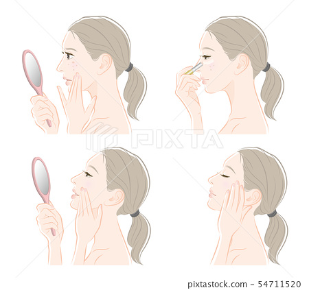 Illustration of a woman doing makeup 54711520