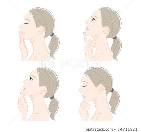 여성의 옆모습의 표정 일러스트 54711521