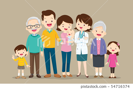 Happy Doctor and big family set 54716374
