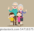 grandparents with children victory hand 54716375