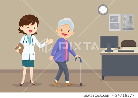doctor helps her grandmother to go to the walker 54716377