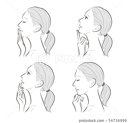 Facial expression illustration of a profile of a woman 54716999