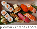 Closeup of fresh sushi on on ceramic dish 54717276