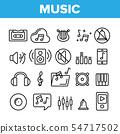 Music, Audio Vector Thin Line Icons Set 54717502