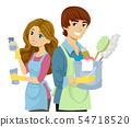 Teens Couple Cleaning Tools Illustration 54718520
