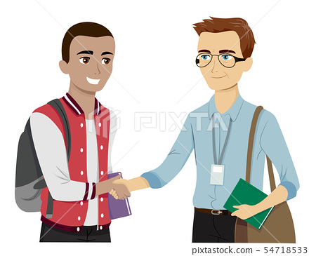 Teen Guy Meet Greet Professor Illustration 54718533