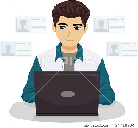 Teen Guy Add Friends Social Network Illustration 54718534