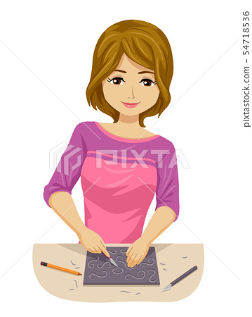 Teen Girl Print Making Carving Illustration 54718536