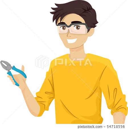 Teen Guy Repair Time Illustration 54718556