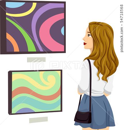 Teen Girl Painting Exhibit Illustration 54718568
