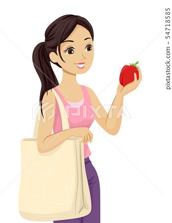 Teen Girl Farmers Market Bag Illustration 54718585