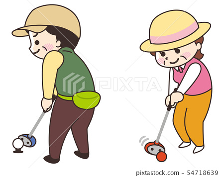 Middle-aged girl playing a park golf 54718639