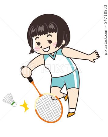 羽毛球運動員的一名婦女 54718833