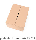 Closed brown corrugated carton box. Big shipping packaging. 3d rendering illustration isolated 54719214