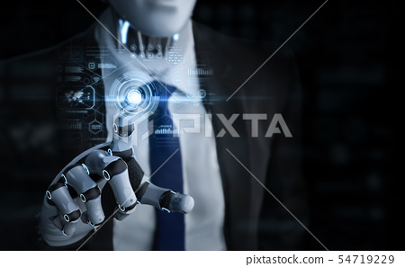 robotic businessman with graphic display 54719229