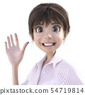 Cute woman's face smile Waving hand perming3 DCG illustration material 54719814