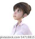 Facial expression of a pretty woman staring at a distance perming3DCG illustration material 54719815