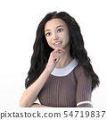 Long hair women smile perming3DCG illustrations material 54719837