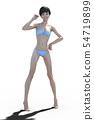 Blue polka dot bikini young women perming3DCG illustrations material 54719899