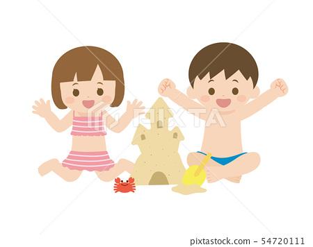 모래 장난을하는 아이들의 일러스트 54720111