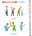English Sport Poster, Golf and Cricket Vector 54722599