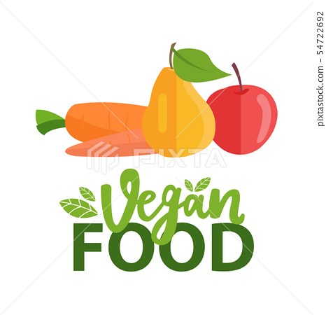 Fruit and Carrot, Pear and Apple, Vegan Vector 54722692