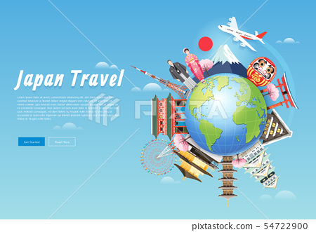 Japan famous landmarks travel background with 54722900