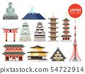 Japan famous landmark icons. Vector illustrations. 54722914