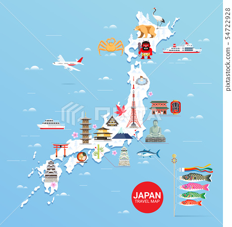 Japan famous landmarks travel map with tokyo 54722928
