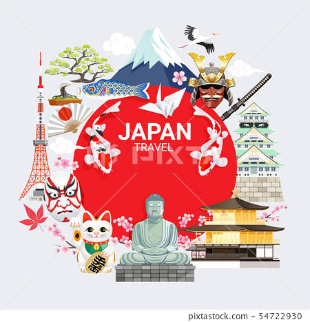 Japan famous landmarks travel background with 54722930