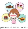 먹고 싶은 것을 참는 다이어트중인 여성 상반신 54724823