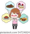 먹고 싶은 것을 참는 다이어트중인 여성 전신 54724824