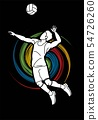 Volleyball player action cartoon graphic vector. 54726260