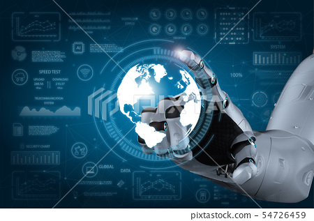 Robot hand with graphic display 54726459