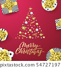 Merry Christmas golden greeting card pink 54727197