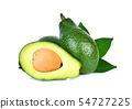 whole and half avocado with green leaf isolated  54727225