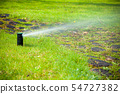 Gardening. Lawn sprinkler spraying water over 54727382