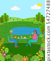 Summer Vacation of People Eating by Lake Vector 54727488