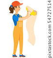 Girl Worker Wallpapering, Holding Roll Vector 54727514