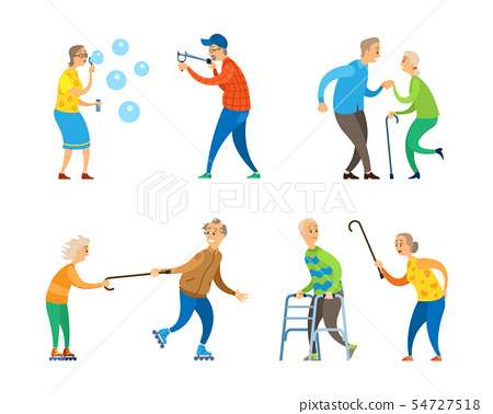 Pensioners Activity, Old Man and Woman Set Vector 54727518