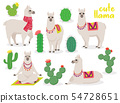 Set of cute llamas in different poses, desert with cactus 54728651