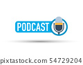 Blue podcast label on white background. Vector 54729204